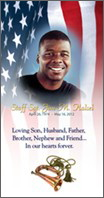 Funeral Banner Portrait with american flag